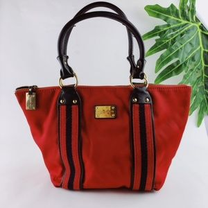 MICHAEL KORS RED CANVAS SATCHEL PURSE HANDBAG